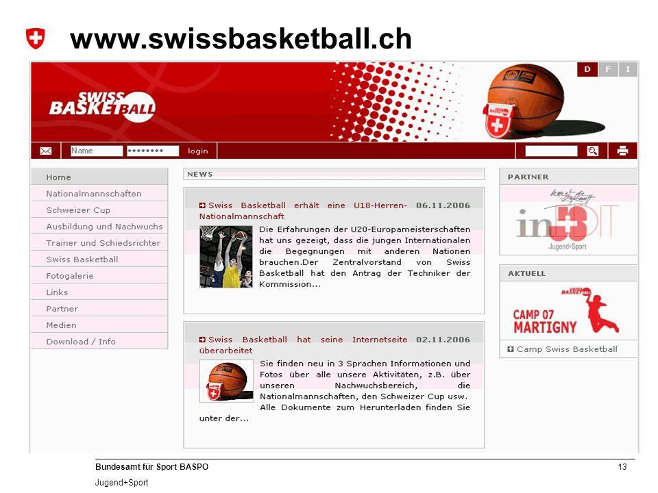13 Bundesamt für Sport BASPO Jugend+Sport www.swissbasketball.ch