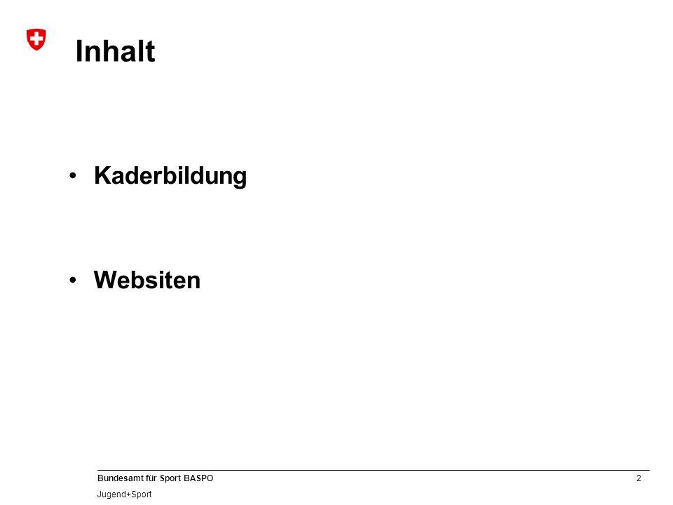 2 Bundesamt für Sport BASPO Jugend+Sport Inhalt Kaderbildung Websiten