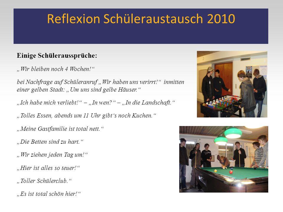 """Reflexion Schüleraustausch 2010 Einige Schüleraussprüche: """"Wir bleiben noch 4 Wochen!"""" bei Nachfrage auf Schüleranruf """"Wir haben uns verirrt!"""" inmitte"""