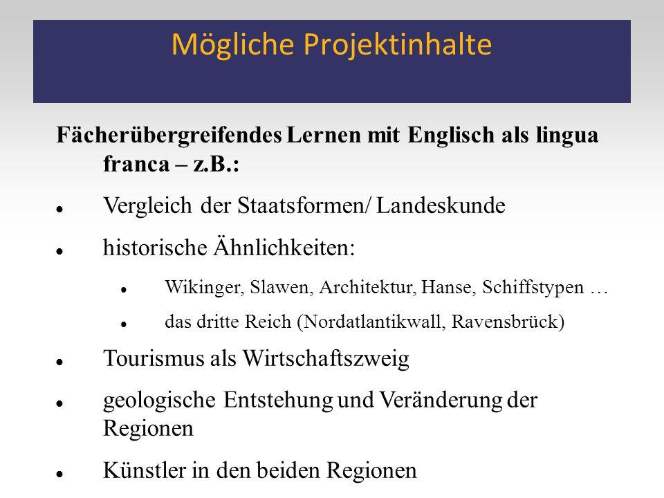 Mögliche Projektinhalte Fächerübergreifendes Lernen mit Englisch als lingua franca – z.B.: Vergleich der Staatsformen/ Landeskunde historische Ähnlich