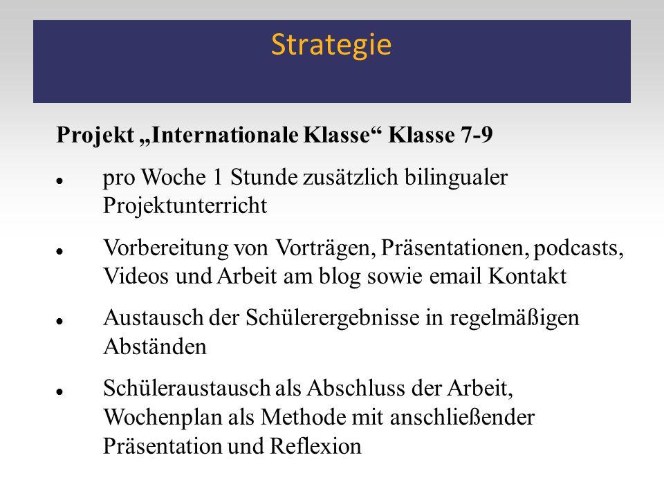 """Strategie Projekt """"Internationale Klasse"""" Klasse 7-9 pro Woche 1 Stunde zusätzlich bilingualer Projektunterricht Vorbereitung von Vorträgen, Präsentat"""