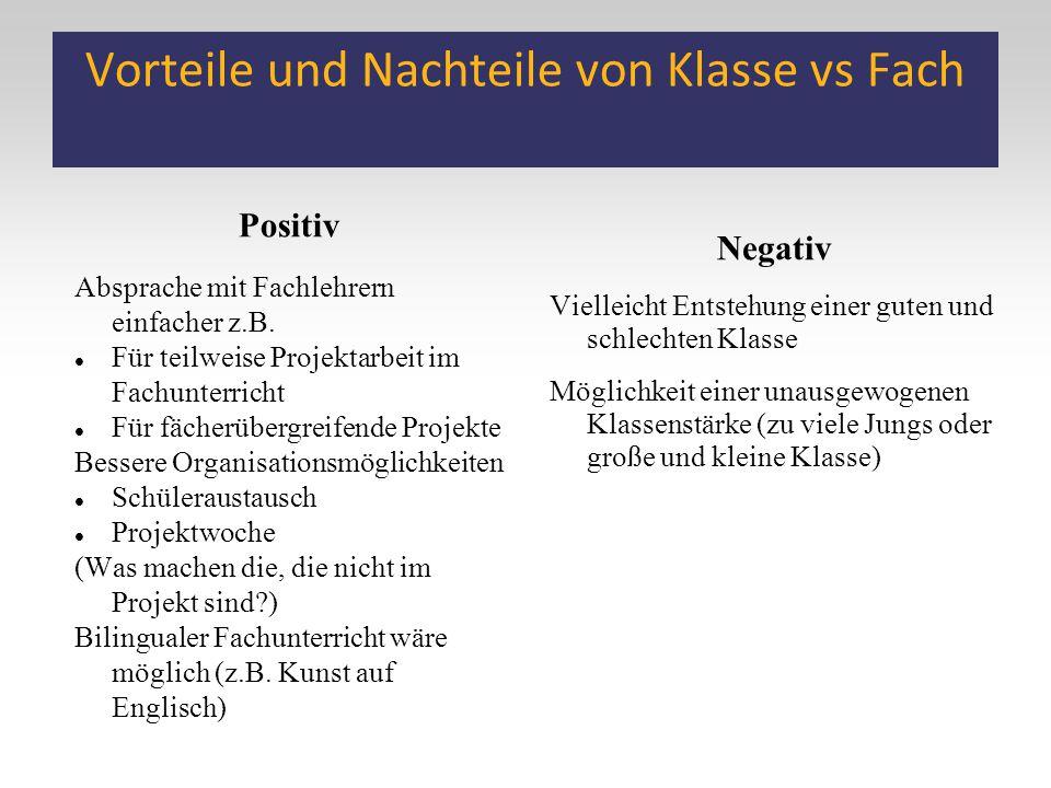Vorteile und Nachteile von Klasse vs Fach Positiv Absprache mit Fachlehrern einfacher z.B. Für teilweise Projektarbeit im Fachunterricht Für fächerübe