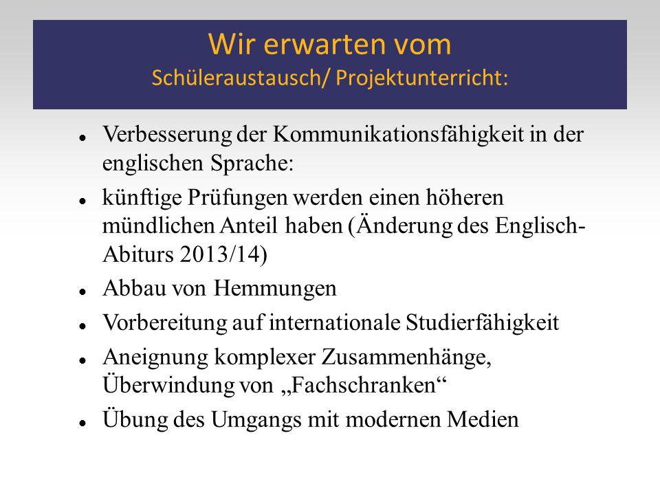 Wir erwarten vom Schüleraustausch/ Projektunterricht: Verbesserung der Kommunikationsfähigkeit in der englischen Sprache: künftige Prüfungen werden ei