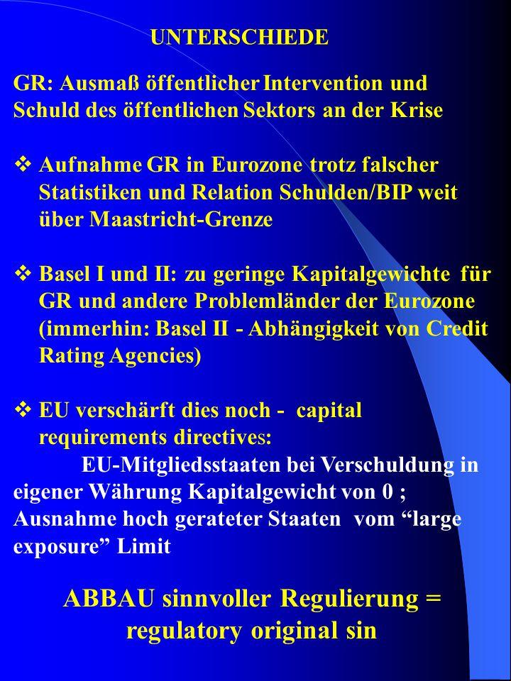 UNTERSCHIEDE GR: Ausmaß öffentlicher Intervention und Schuld des öffentlichen Sektors an der Krise  Aufnahme GR in Eurozone trotz falscher Statistike