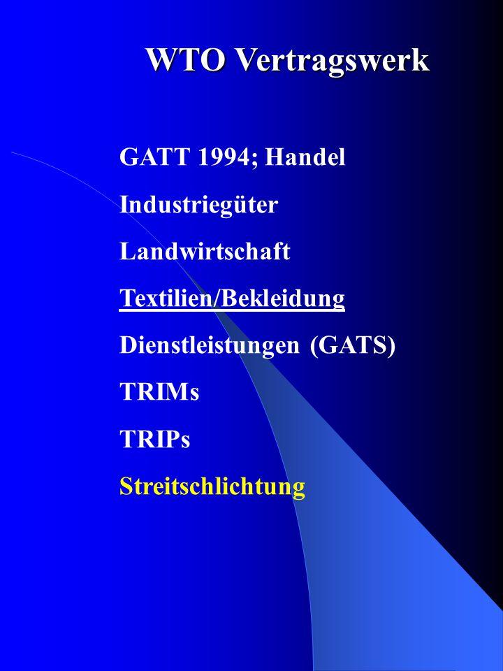 GATT 1994; Handel Industriegüter Landwirtschaft Textilien/Bekleidung Dienstleistungen (GATS) TRIMs TRIPs Streitschlichtung WTO Vertragswerk