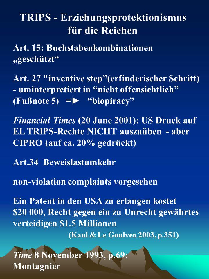 """TRIPS - Erziehungsprotektionismus für die Reichen Art. 15: Buchstabenkombinationen """"geschützt"""" Art. 27"""