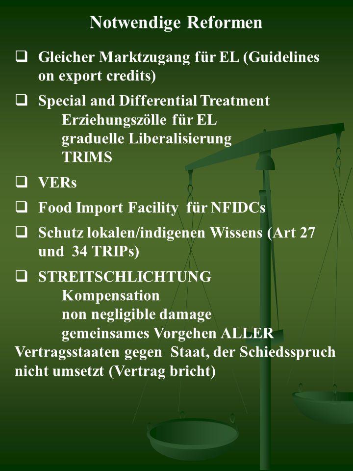 Notwendige Reformen  Gleicher Marktzugang für EL (Guidelines on export credits)  Special and Differential Treatment Erziehungszölle für EL graduelle