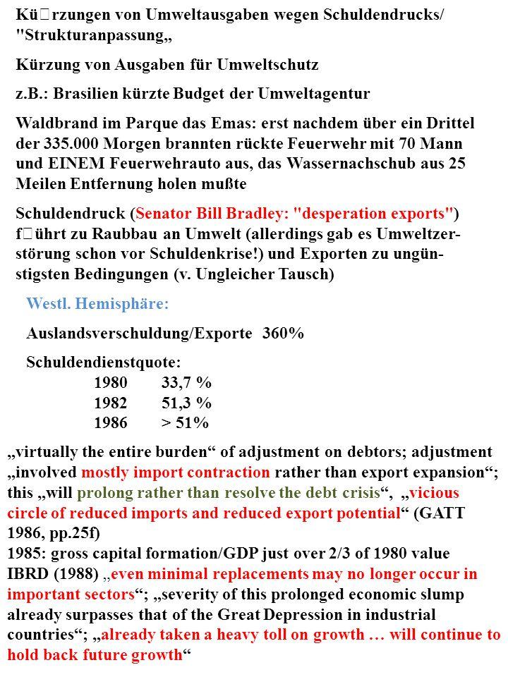 Kürzungen von Umweltausgaben wegen Schuldendrucks/