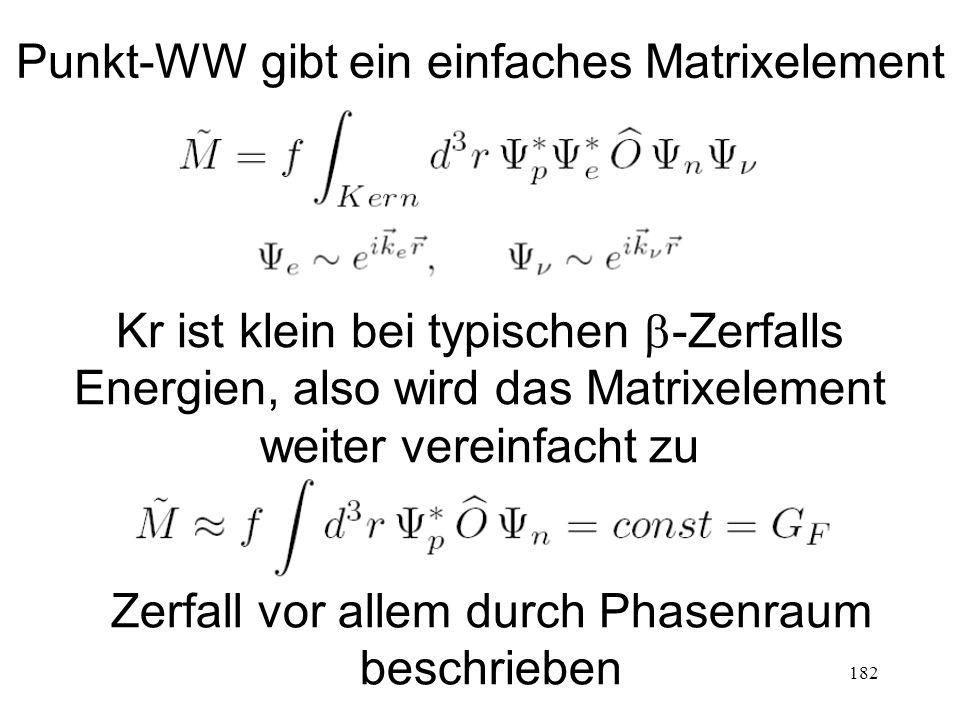 182 Punkt-WW gibt ein einfaches Matrixelement Kr ist klein bei typischen  -Zerfalls Energien, also wird das Matrixelement weiter vereinfacht zu Zerfa