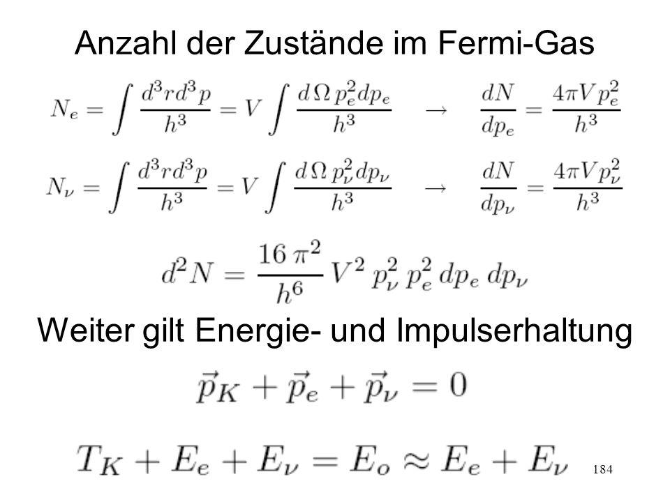 184 Anzahl der Zustände im Fermi-Gas Weiter gilt Energie- und Impulserhaltung