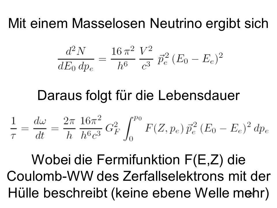 185 Mit einem Masselosen Neutrino ergibt sich Daraus folgt für die Lebensdauer Wobei die Fermifunktion F(E,Z) die Coulomb-WW des Zerfallselektrons mit