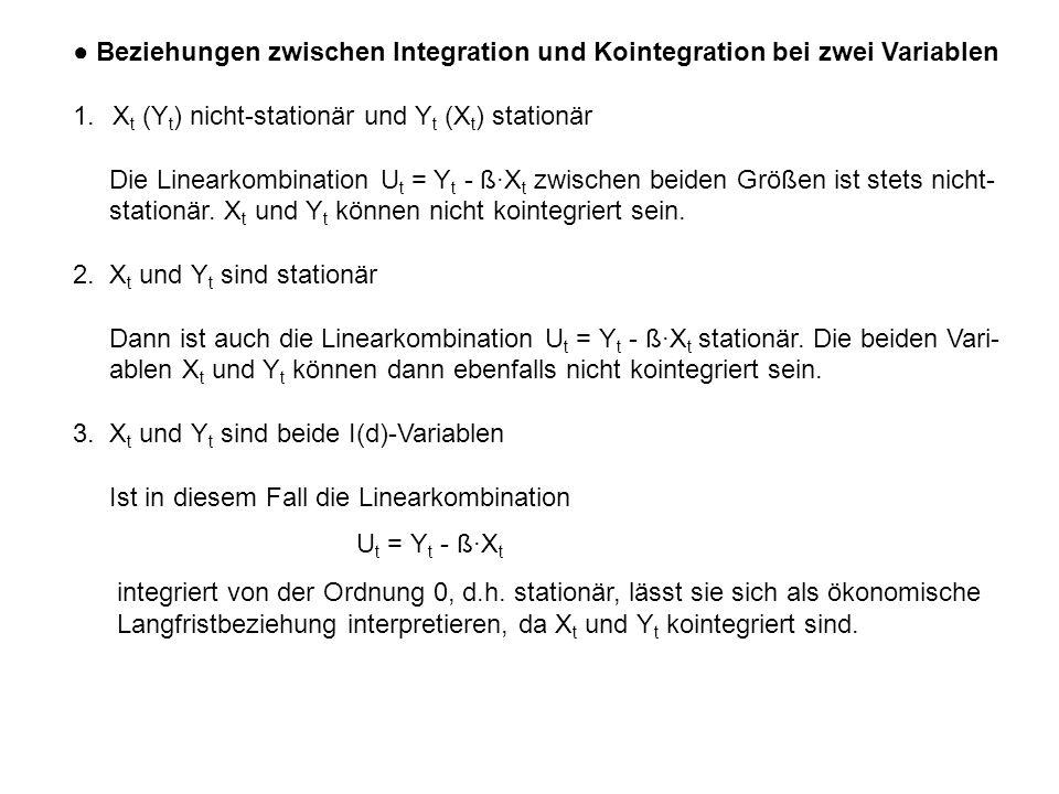 ● Beziehungen zwischen Integration und Kointegration bei zwei Variablen 1.X t (Y t ) nicht-stationär und Y t (X t ) stationär Die Linearkombination U t = Y t - ß·X t zwischen beiden Größen ist stets nicht- stationär.