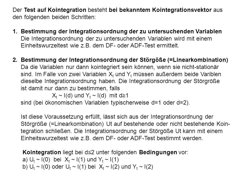 Der Test auf Kointegration besteht bei bekanntem Kointegrationsvektor aus den folgenden beiden Schritten: 1. Bestimmung der Integrationsordnung der zu