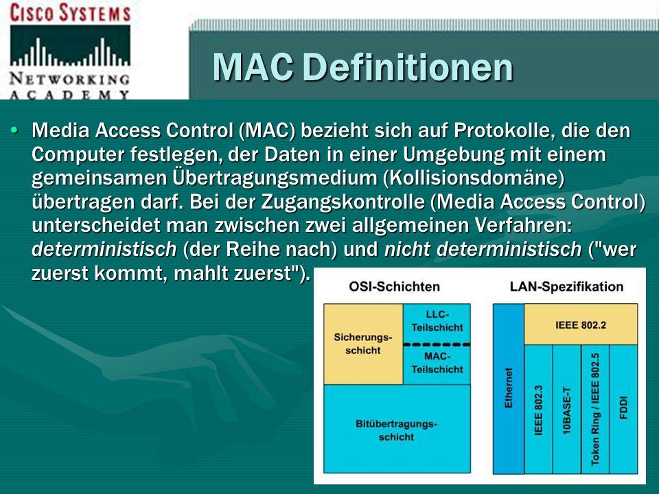 MAC Definitionen Media Access Control (MAC) bezieht sich auf Protokolle, die den Computer festlegen, der Daten in einer Umgebung mit einem gemeinsamen