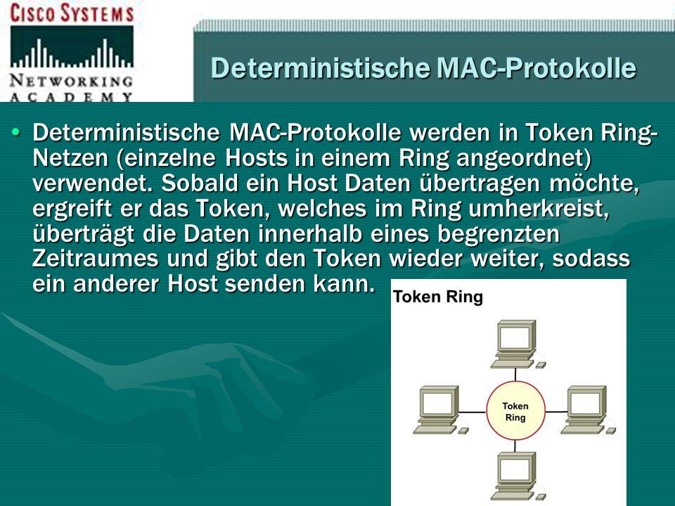 Deterministische MAC-Protokolle Deterministische MAC-Protokolle werden in Token Ring- Netzen (einzelne Hosts in einem Ring angeordnet) verwendet. Soba