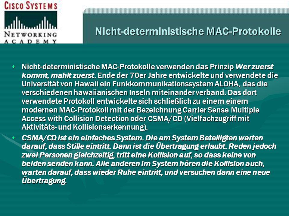 Nicht-deterministische MAC-Protokolle Nicht-deterministische MAC-Protokolle verwenden das Prinzip Wer zuerst kommt, mahlt zuerst. Ende der 70er Jahre