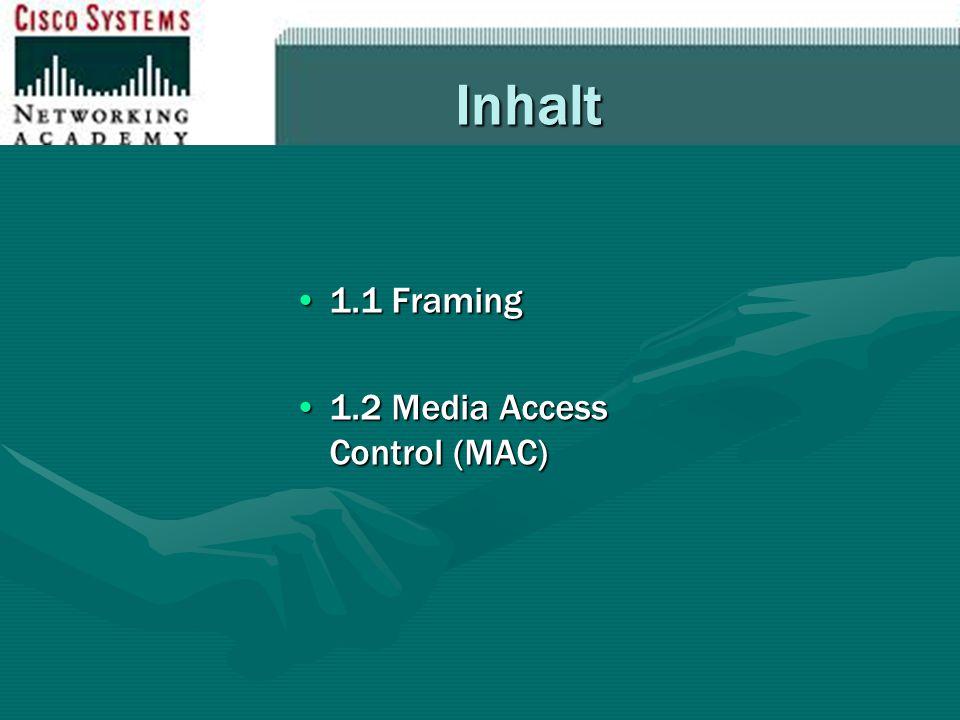 Inhalt 1.1 Framing1.1 Framing 1.2 Media Access Control (MAC)1.2 Media Access Control (MAC)