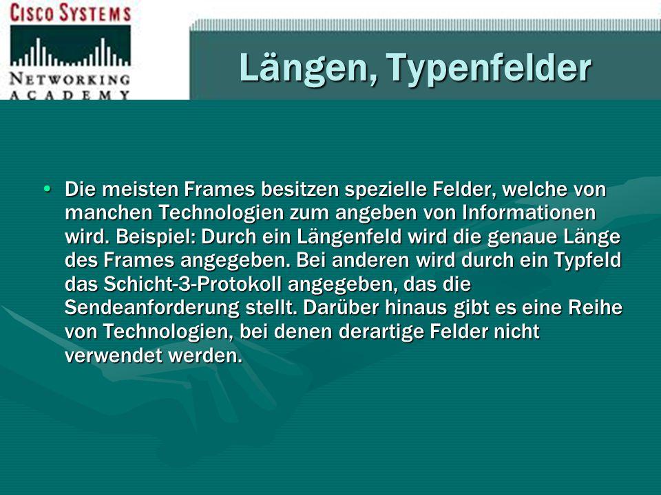 Längen, Typenfelder Die meisten Frames besitzen spezielle Felder, welche von manchen Technologien zum angeben von Informationen wird. Beispiel: Durch