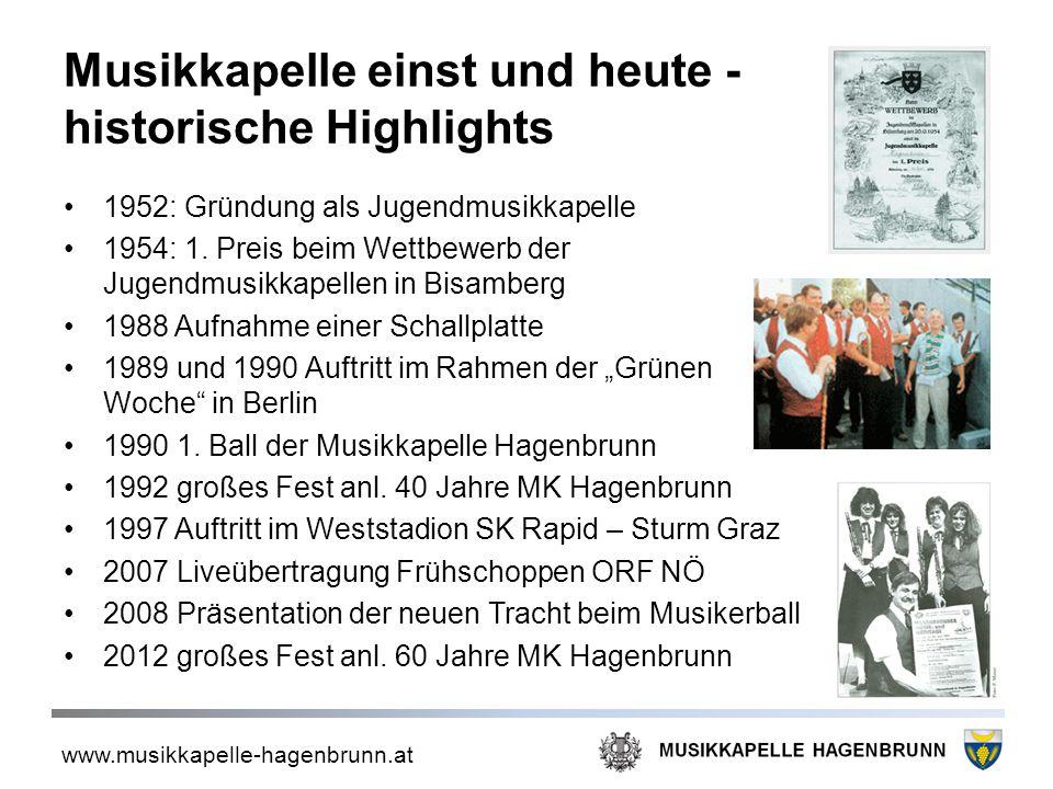 www.musikkapelle-hagenbrunn.at Musikkapelle einst und heute - historische Highlights 1952: Gründung als Jugendmusikkapelle 1954: 1. Preis beim Wettbew