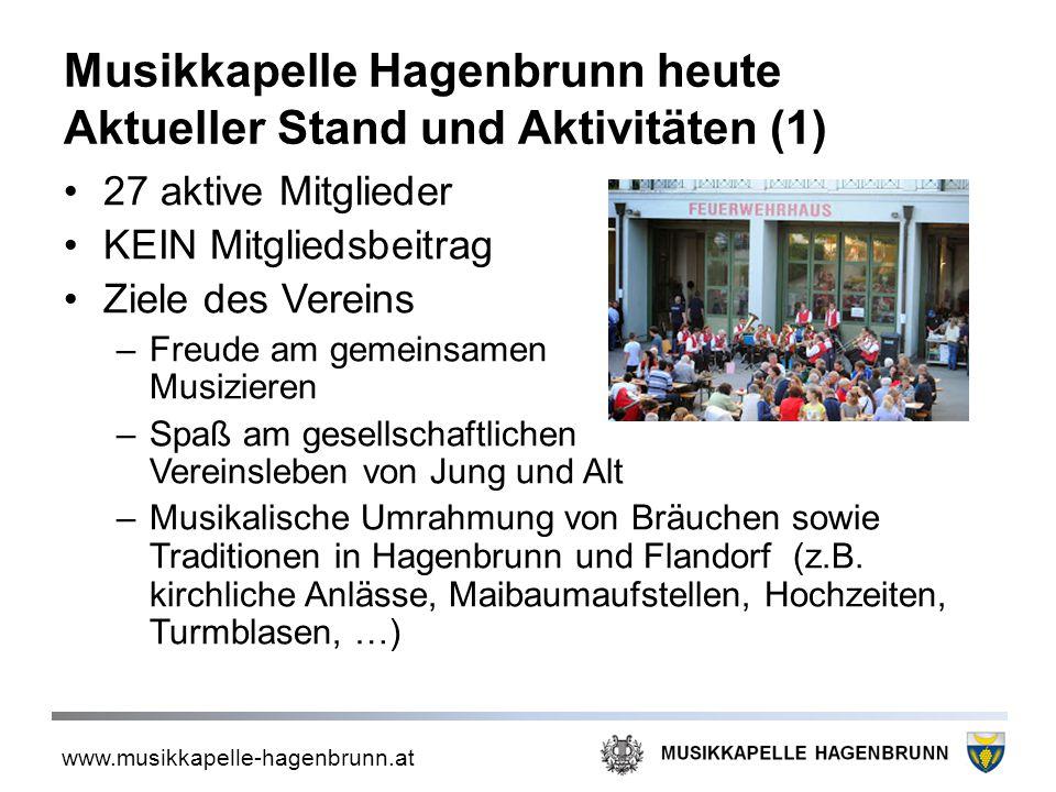 www.musikkapelle-hagenbrunn.at Musikkapelle Hagenbrunn heute Aktueller Stand und Aktivitäten (1) 27 aktive Mitglieder KEIN Mitgliedsbeitrag Ziele des
