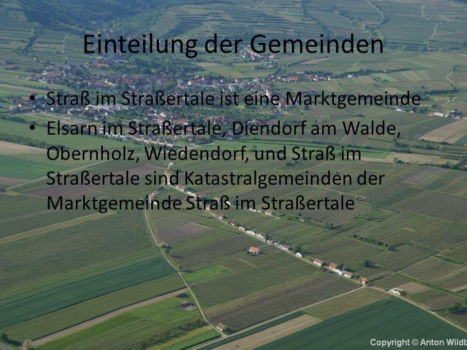 Einteilung der Gemeinden Straß im Straßertale ist eine Marktgemeinde Elsarn im Straßertale, Diendorf am Walde, Obernholz, Wiedendorf, und Straß im Straßertale sind Katastralgemeinden der Marktgemeinde Straß im Straßertale