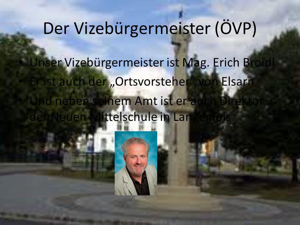 """Der Vizebürgermeister (ÖVP) Unser Vizebürgermeister ist Mag. Erich Broidl Er ist auch der """"Ortsvorsteher"""" von Elsarn Und neben seinem Amt ist er auch"""