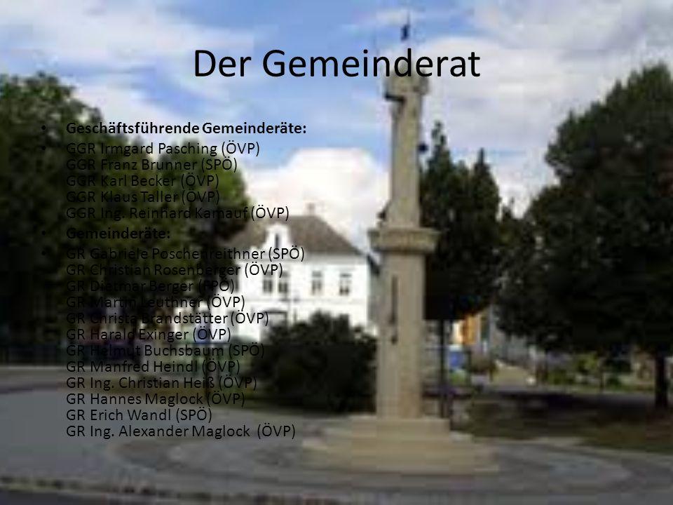 Der Gemeinderat Geschäftsführende Gemeinderäte: GGR Irmgard Pasching (ÖVP) GGR Franz Brunner (SPÖ) GGR Karl Becker (ÖVP) GGR Klaus Taller (ÖVP) GGR In