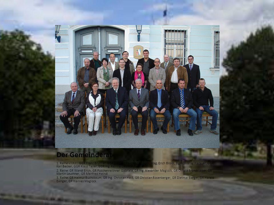 Der Gemeinderat 1. Reihe v.l.n.r.: GGR Franz Brunner, GGR Irmgard Pasching, Vzbgm. Mag. Erich Broidl, Bgm. Walter Harauer, GGR Karl Becker, GGR Klaus