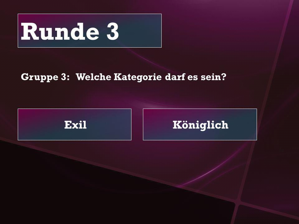 Runde 3 ExilKöniglich Gruppe 3: Welche Kategorie darf es sein?