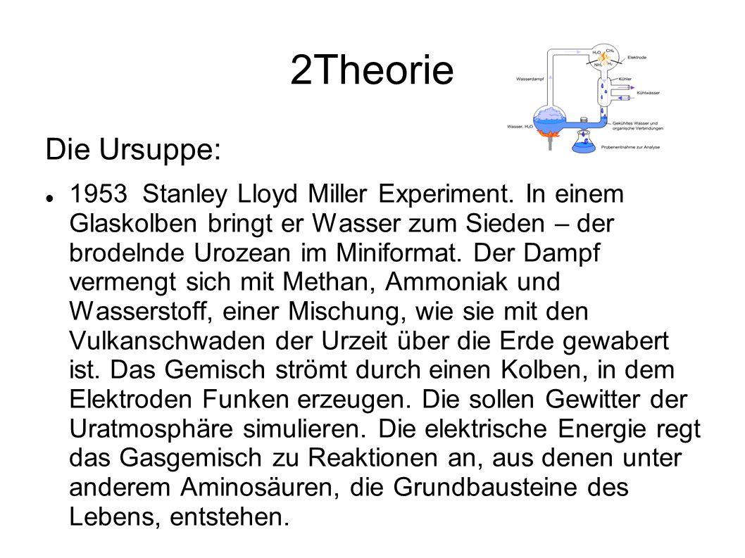 2Theorie Die Ursuppe: 1953 Stanley Lloyd Miller Experiment. In einem Glaskolben bringt er Wasser zum Sieden – der brodelnde Urozean im Miniformat. Der