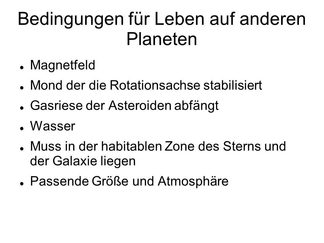 Bedingungen für Leben auf anderen Planeten Magnetfeld Mond der die Rotationsachse stabilisiert Gasriese der Asteroiden abfängt Wasser Muss in der habi