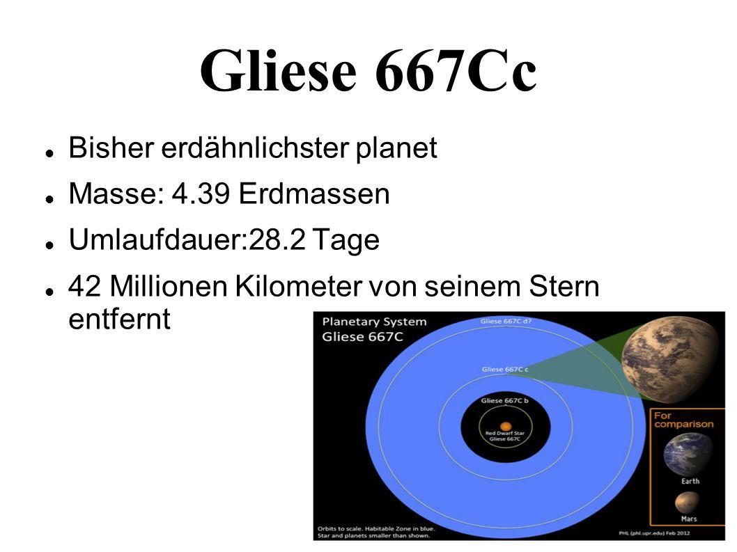 Gliese 667Cc Bisher erdähnlichster planet Masse: 4.39 Erdmassen Umlaufdauer:28.2 Tage 42 Millionen Kilometer von seinem Stern entfernt