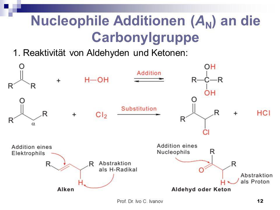 Prof. Dr. Ivo C. Ivanov12 Nucleophile Additionen (A N ) an die Carbonylgruppe 1. Reaktivität von Aldehyden und Ketonen: