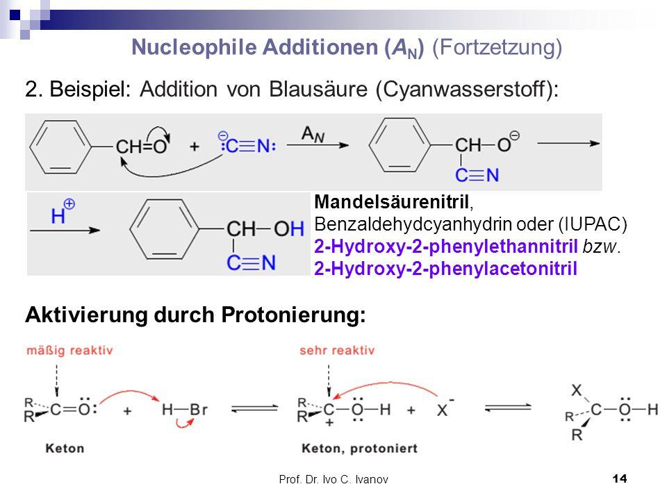 Prof. Dr. Ivo C. Ivanov14 Nucleophile Additionen (A N ) (Fortzetzung) 2. Beispiel: Addition von Blausäure (Cyanwasserstoff): Mandelsäurenitril, Benzal