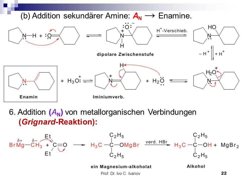 Prof. Dr. Ivo C. Ivanov22 (b) Addition sekundärer Amine: A N → Enamine. 6. Addition (A N ) von metallorganischen Verbindungen (Grignard-Reaktion):