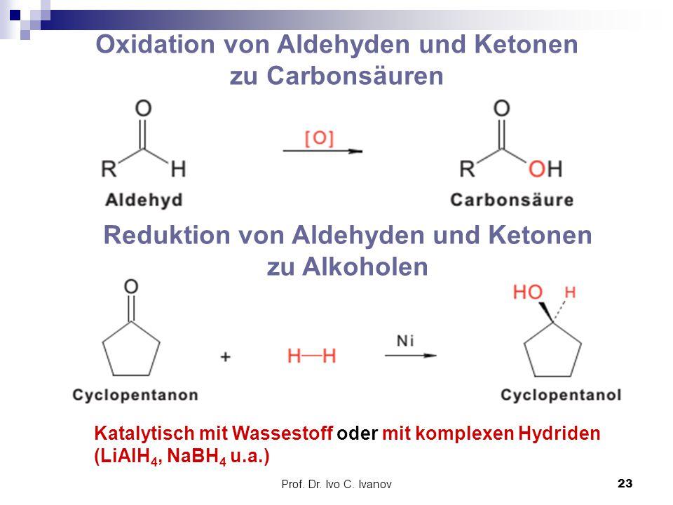 Prof. Dr. Ivo C. Ivanov23 Oxidation von Aldehyden und Ketonen zu Carbonsäuren Reduktion von Aldehyden und Ketonen zu Alkoholen Katalytisch mit Wassest