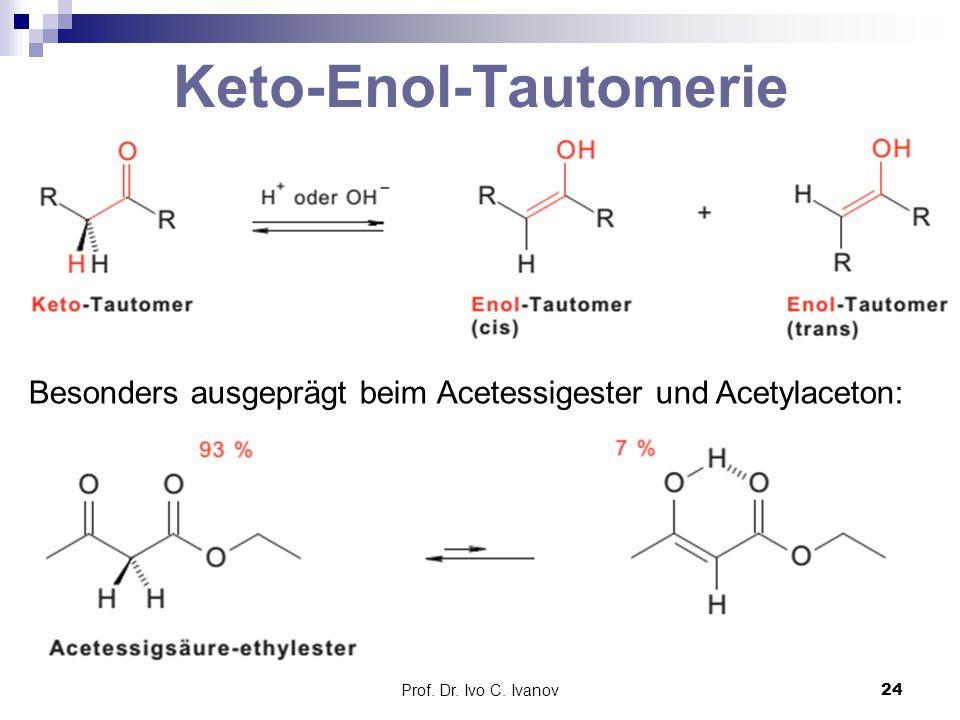 Prof. Dr. Ivo C. Ivanov24 Keto-Enol-Tautomerie Besonders ausgeprägt beim Acetessigester und Acetylaceton: