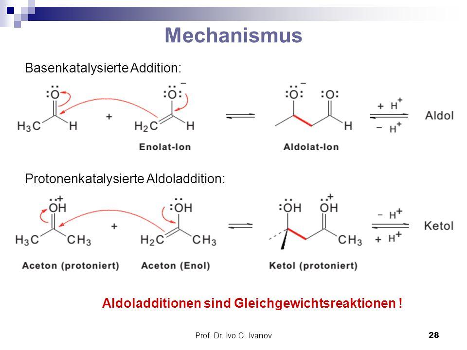 Prof. Dr. Ivo C. Ivanov28 Basenkatalysierte Addition: Mechanismus Protonenkatalysierte Aldoladdition: Aldoladditionen sind Gleichgewichtsreaktionen !