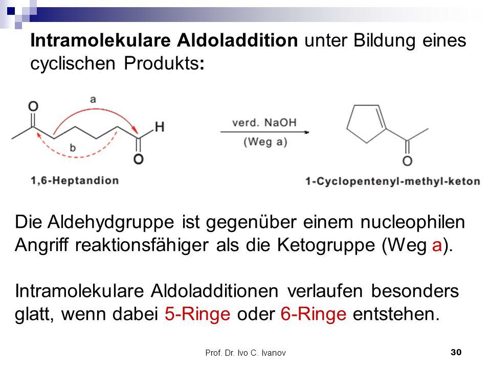 Prof. Dr. Ivo C. Ivanov30 Intramolekulare Aldoladdition unter Bildung eines cyclischen Produkts: Die Aldehydgruppe ist gegenüber einem nucleophilen An