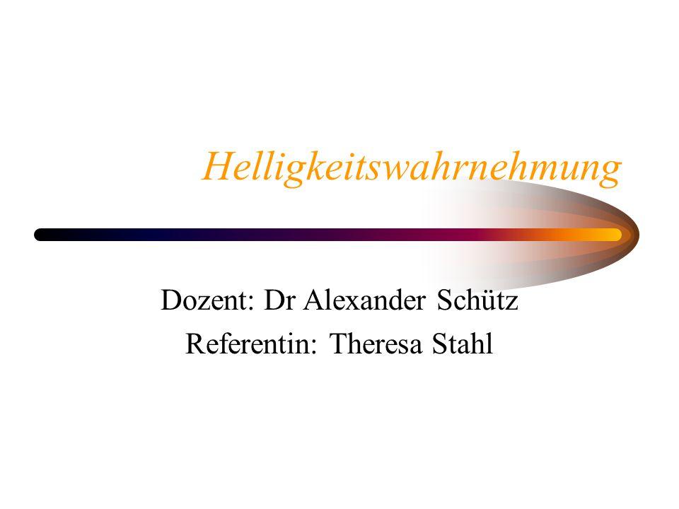Helligkeitswahrnehmung Dozent: Dr Alexander Schütz Referentin: Theresa Stahl