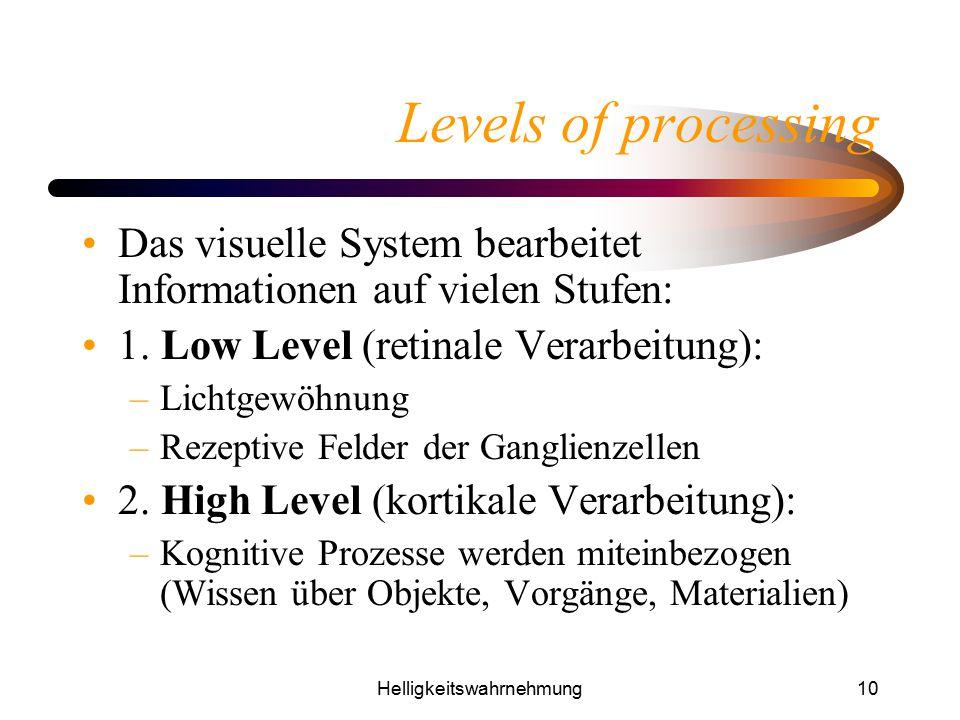 Helligkeitswahrnehmung10 Levels of processing Das visuelle System bearbeitet Informationen auf vielen Stufen: 1. Low Level (retinale Verarbeitung): –L