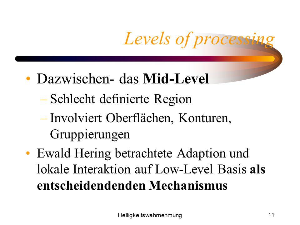 Helligkeitswahrnehmung11 Levels of processing Dazwischen- das Mid-Level –Schlecht definierte Region –Involviert Oberflächen, Konturen, Gruppierungen E