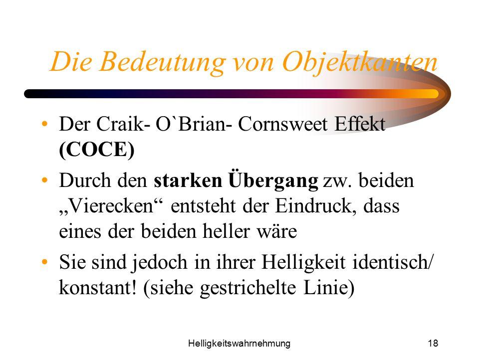 """Helligkeitswahrnehmung18 Die Bedeutung von Objektkanten Der Craik- O`Brian- Cornsweet Effekt (COCE) Durch den starken Übergang zw. beiden """"Vierecken"""""""