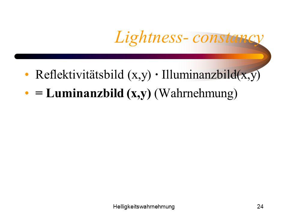 Helligkeitswahrnehmung24 Lightness- constancy Reflektivitätsbild (x,y) · Illuminanzbild(x,y) = Luminanzbild (x,y) (Wahrnehmung)