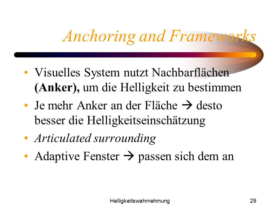 Helligkeitswahrnehmung29 Anchoring and Frameworks Visuelles System nutzt Nachbarflächen (Anker), um die Helligkeit zu bestimmen Je mehr Anker an der F