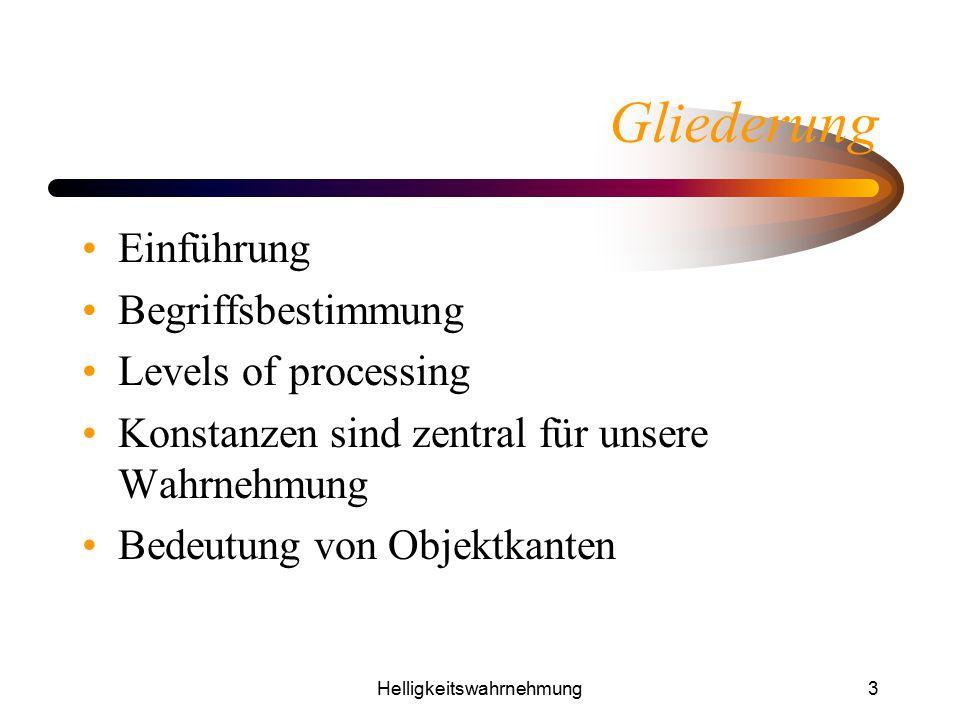 Helligkeitswahrnehmung3 Gliederung Einführung Begriffsbestimmung Levels of processing Konstanzen sind zentral für unsere Wahrnehmung Bedeutung von Obj
