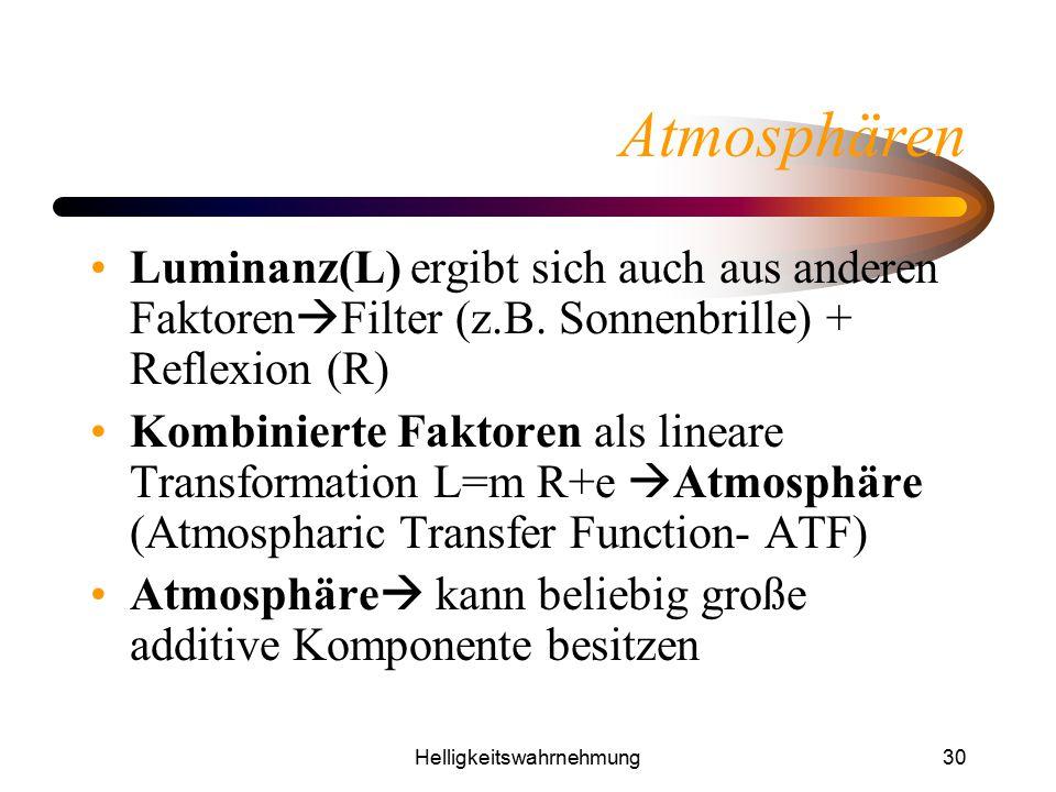Helligkeitswahrnehmung30 Atmosphären Luminanz(L) ergibt sich auch aus anderen Faktoren  Filter (z.B. Sonnenbrille) + Reflexion (R) Kombinierte Faktor