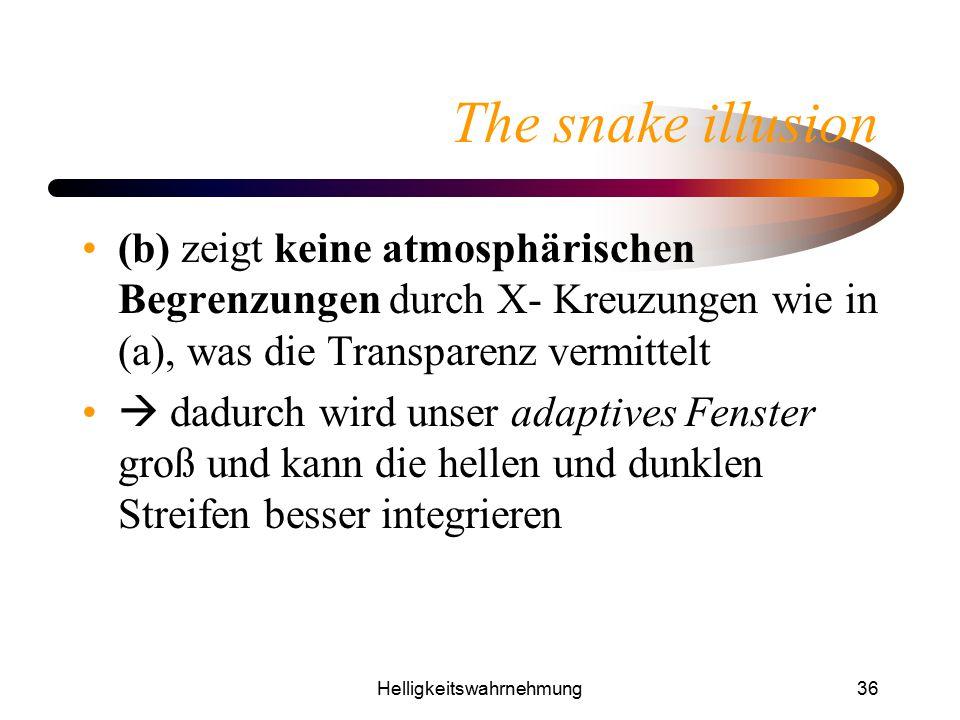 Helligkeitswahrnehmung36 The snake illusion (b) zeigt keine atmosphärischen Begrenzungen durch X- Kreuzungen wie in (a), was die Transparenz vermittel