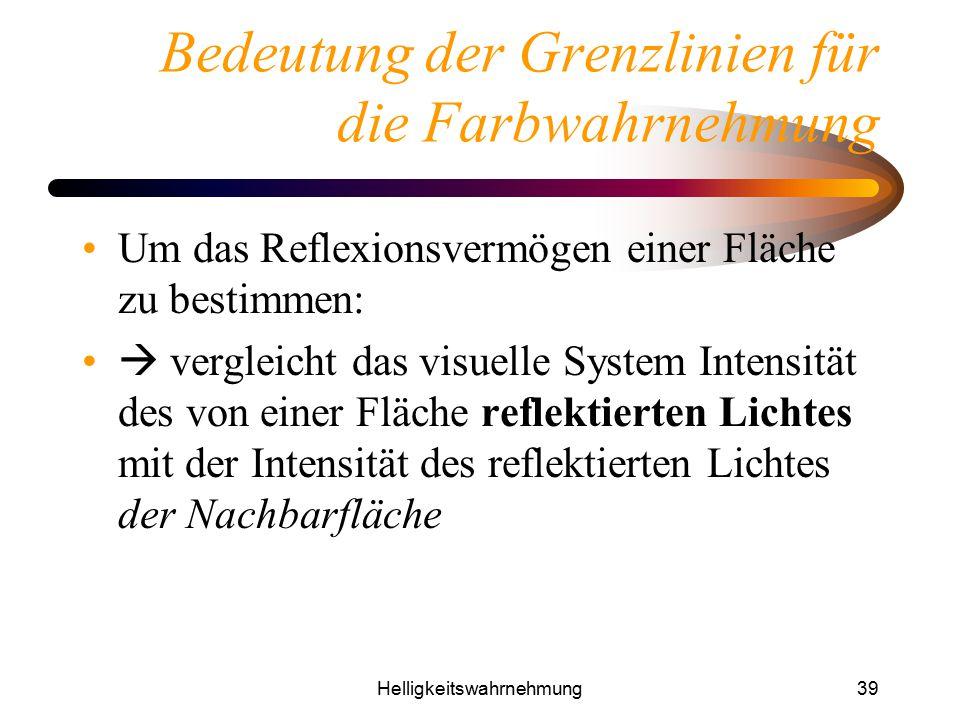 Helligkeitswahrnehmung39 Bedeutung der Grenzlinien für die Farbwahrnehmung Um das Reflexionsvermögen einer Fläche zu bestimmen:  vergleicht das visue