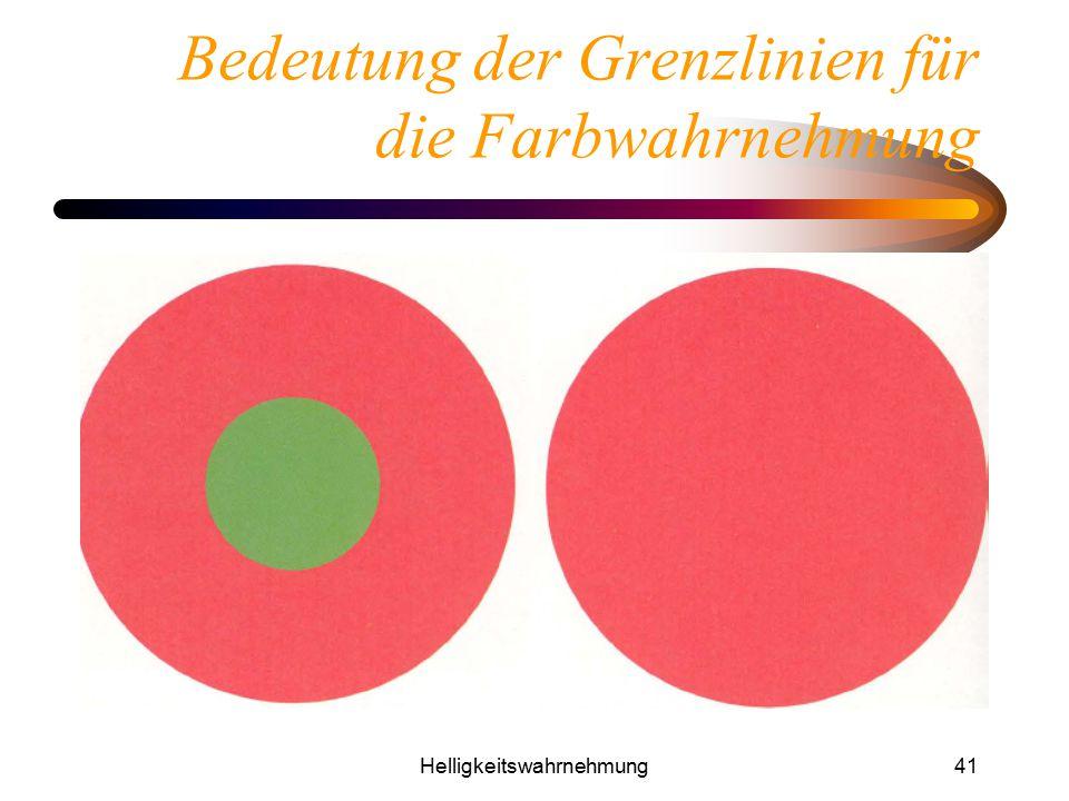 Helligkeitswahrnehmung41 Bedeutung der Grenzlinien für die Farbwahrnehmung